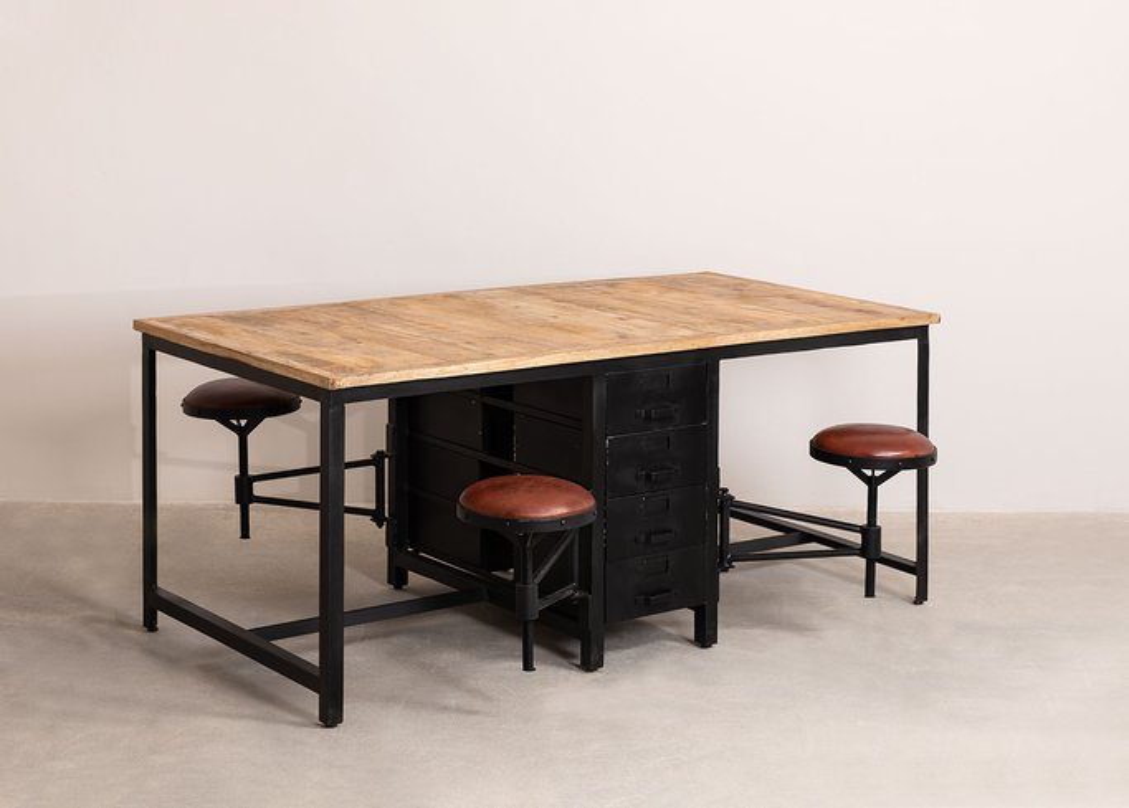 Esstisch aus Mangoholz und Metall mit 4 Quadrap-Hockern, Galeriebild 1