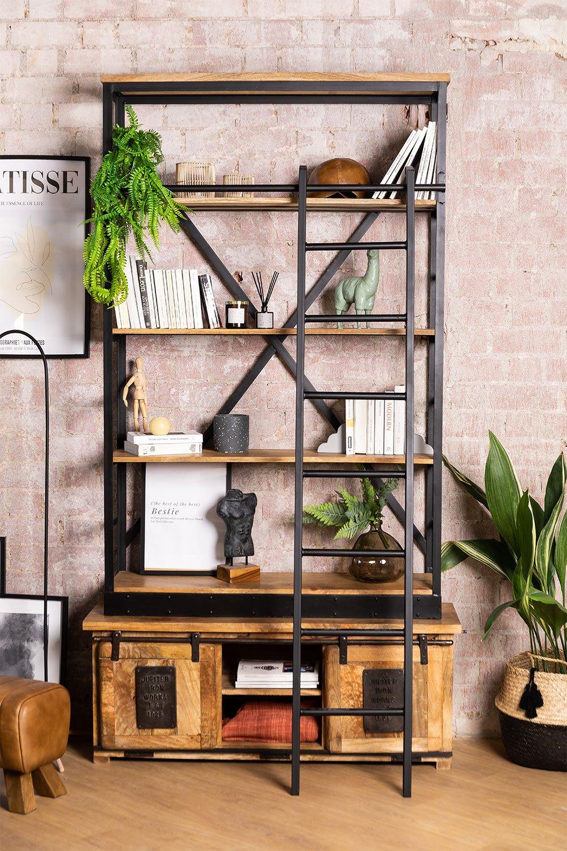 Uain Bücherregal aus recyceltem Holz mit Leiter, Galeriebild 1