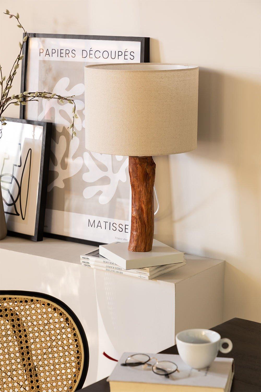 Tischlampe aus Stoff und Lobra Holz, Galeriebild 1