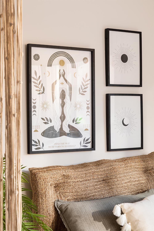 Set mit 3 dekorativen Blättern (50x70 und 30x40 cm) Buddha, Galeriebild 1