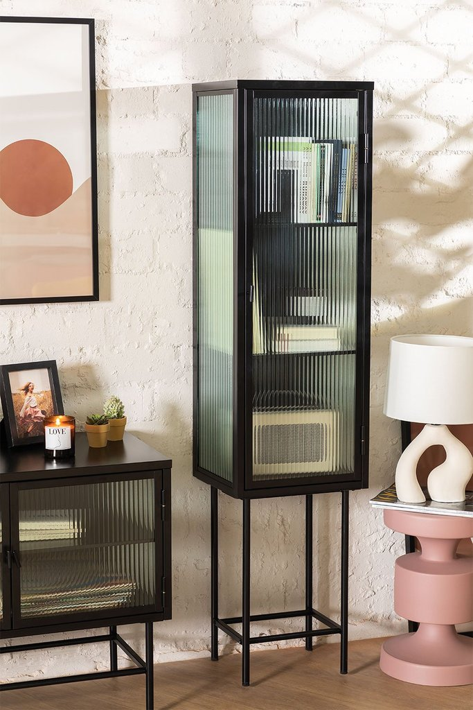 1 Tür Vitrine aus Metall und vertikalem Glas, Galeriebild 1