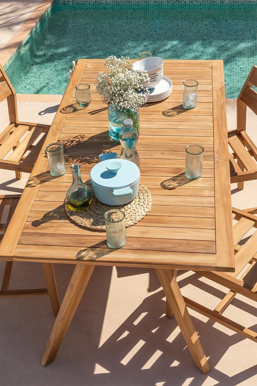 Set Mesa Rectangular (180X90) & 4 Sillas de Jardín en Madera de Teca Yolen, imagen de galería 1