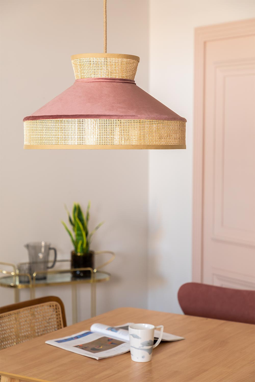 Lámpara de Techo en Terciopelo y Ratán Xanti, imagen de galería 1
