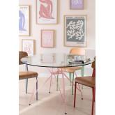 Mesa de Comedor Redonda en Cristal y Acero (Ø120 cm) Scand Brich Mate, imagen miniatura 1