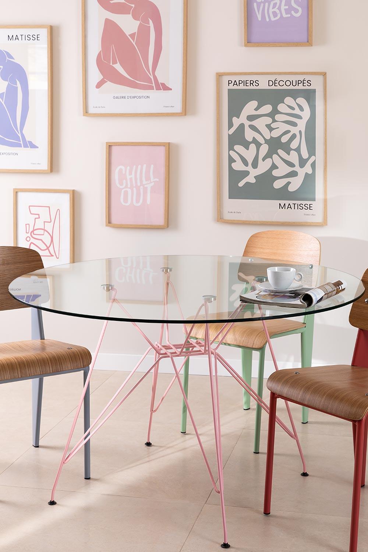 Mesa de Comedor Redonda en Cristal y Acero (Ø120 cm) Scand Brich Mate, imagen de galería 1