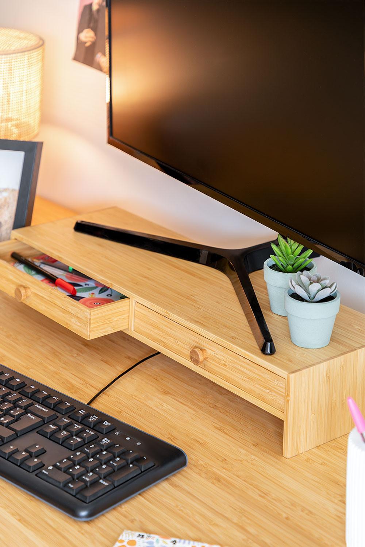 Soporte para Monitor con Cajones en Bambú Greg, imagen de galería 1