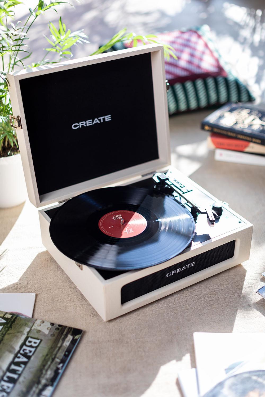 RECORD PLAYER COMPACT - Tocadiscos Retro con Bluetooth, USB, SD, MicroSD y Mp3 record/player - Create, imagen de galería 1