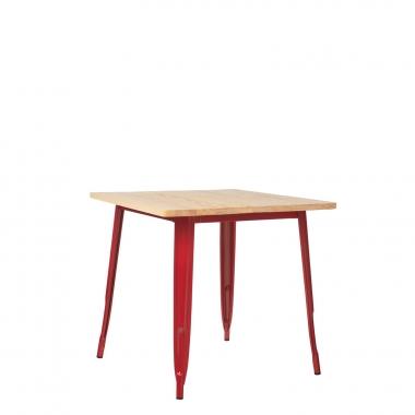 Mesa LIX Madera (80x80) - Rojo