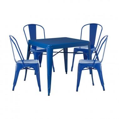 Pack 4 Sillas LIX & 1 Mesa LIX X (80x80) - Azul Lapislázuli