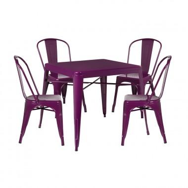 Pack 4 Sillas LIX & 1 Mesa LIX X (80x80) - Violeta Púrpura