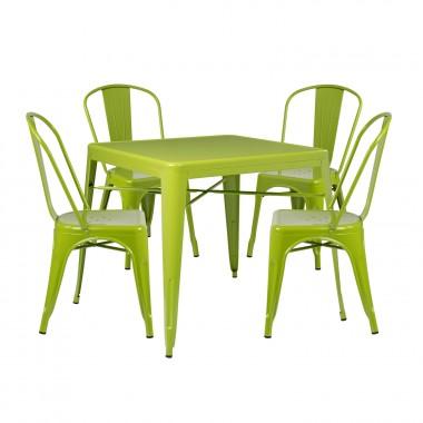 Pack 4 Sillas LIX & 1 Mesa LIX X (80x80) - Verde Flora