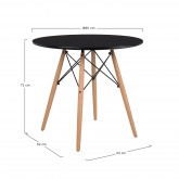Mesa de Comedor Redonda en MDF y Haya (Ø80 cm) Scand, imagen miniatura 3