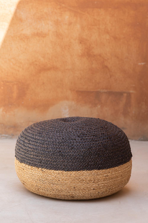Puff Redondo de Yute Natur, imagen de galería 1