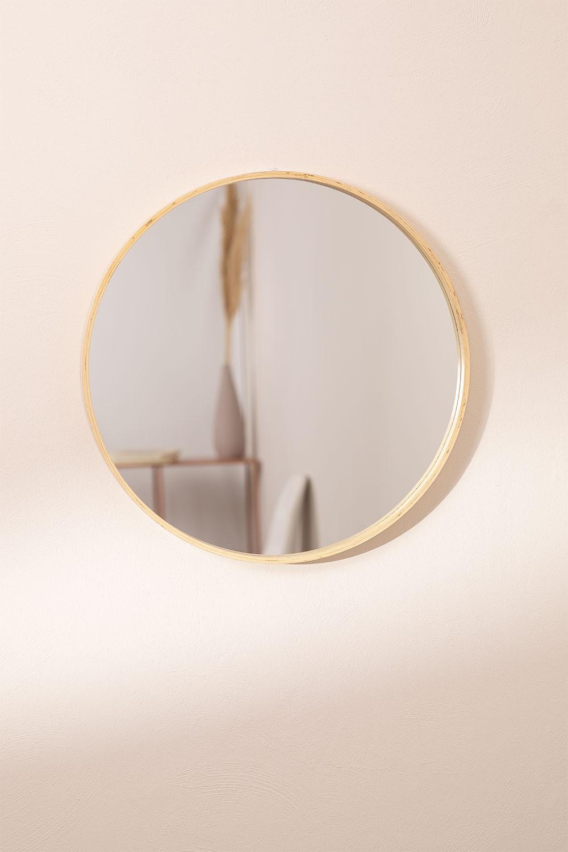 Espejo de Pared Redondo en Madera Yiro , imagen de galería 1