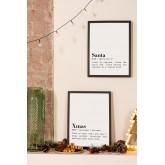 Set de 2 Láminas Decorativas de Navidad (30x40 cm) Santa, imagen miniatura 1