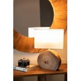 Lámpara de Mesa en Tela y Madera Abura, imagen miniatura 2