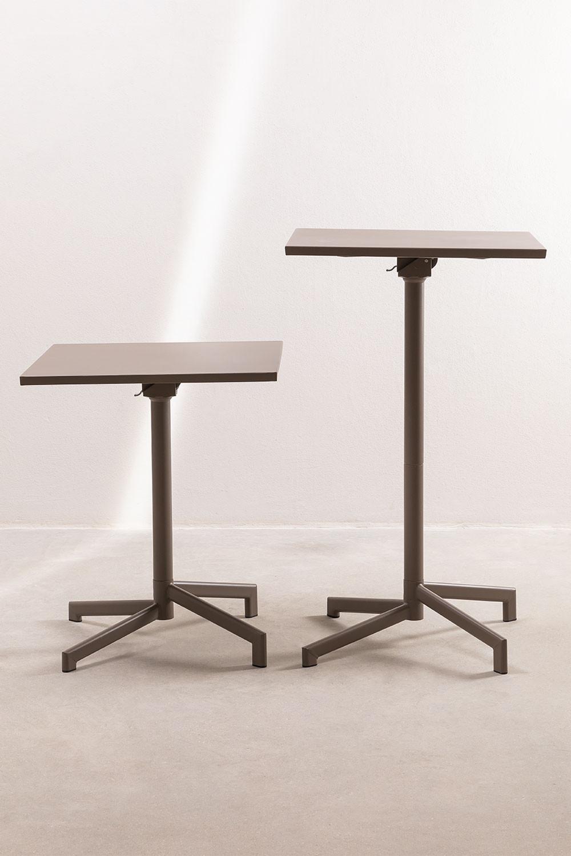 Mesa de Bar Plegable y Convertible en 2 alturas en Acero (60x60 cm) Dely, imagen de galería 1