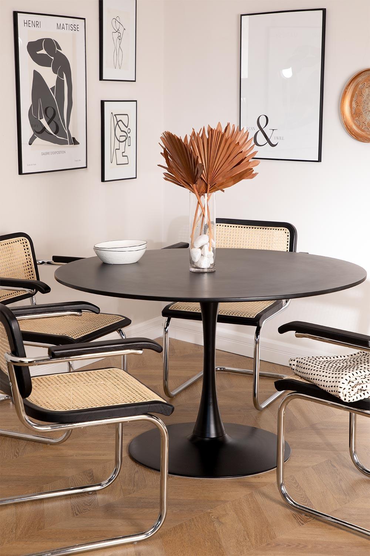 Mesa de Comedor Redonda en MDF y Metal Tuhl Style, imagen de galería 1