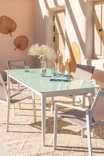 Mesa Extensible de Jardín en Cristal y Aluminio (180cm - 260 cm) Hari