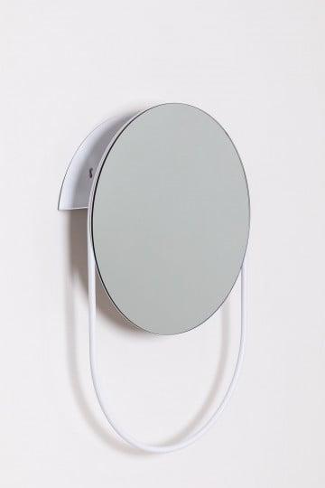 Espejo Toallero de Pared Redondo en Acero (Ø50cm) Vor