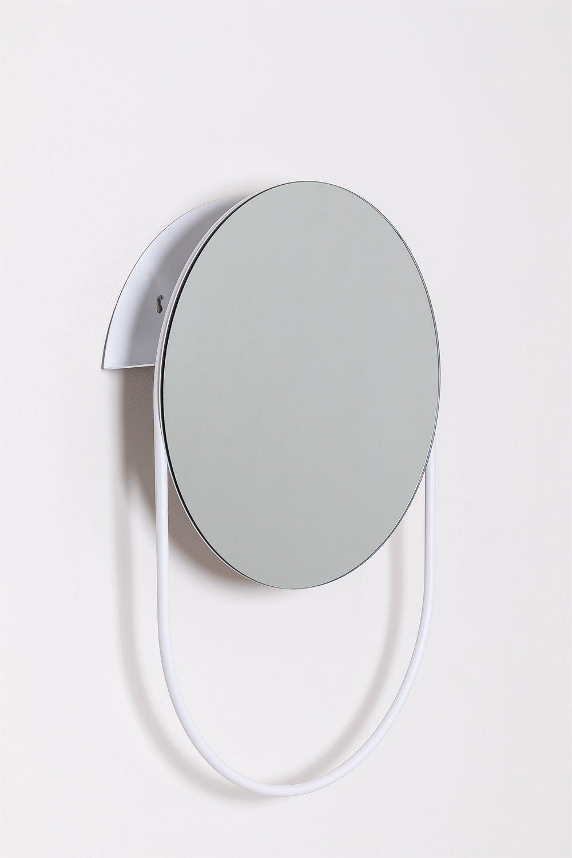 Espejo Toallero de Pared Redondo en Acero (Ø50cm) Vor, imagen de galería 1