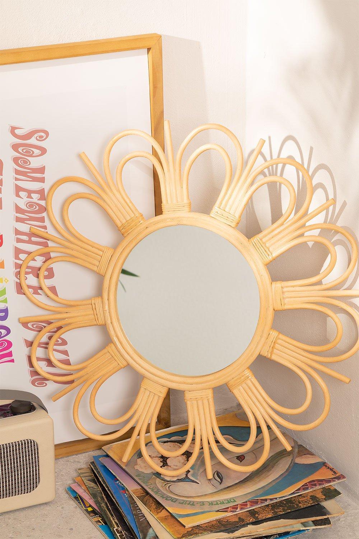 Espejo de Pared Redondo en Ratán (Ø60,6 cm) Kraty, imagen de galería 1