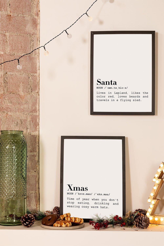 Set de 2 Láminas Decorativas de Navidad (30x40 cm) Santa, imagen de galería 1