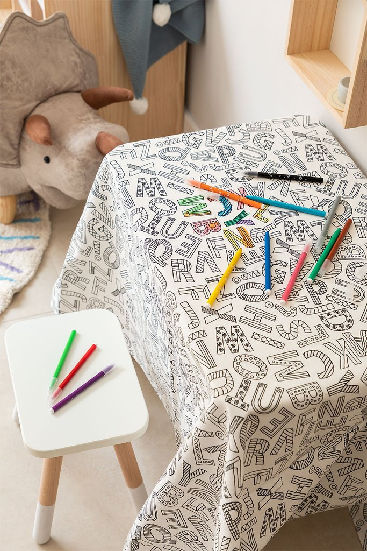 Mantel Lavable con 12 Rotuladores para Colorear Letters Kids, imagen de galería 1