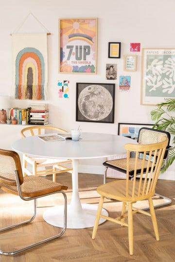 Mesa de Comedor Redonda en MDF y Metal Tuhl Style