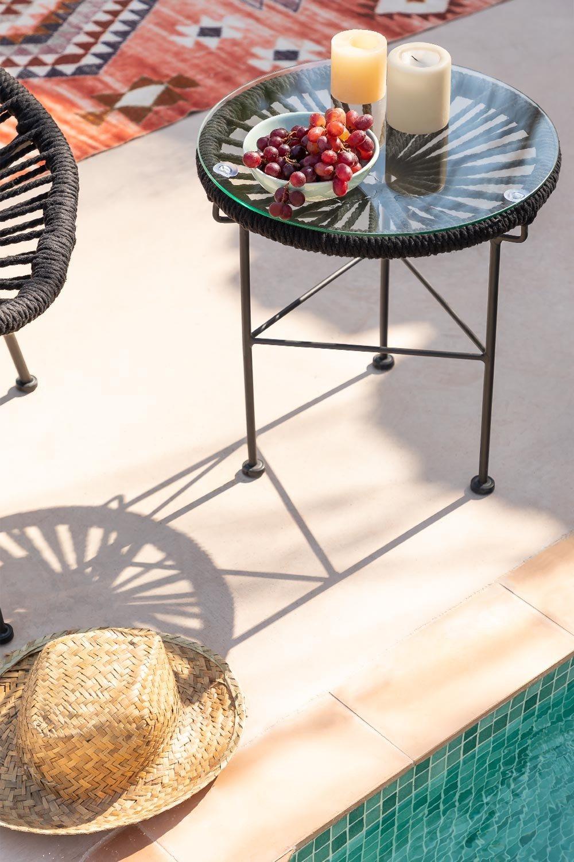 Mesa Auxiliar Redonda en Cuerda y Acero (Ø35 cm) Acapulco, imagen de galería 1