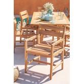 Chaise de jardin avec accoudoirs en bois de teck Yolen, image miniature 1