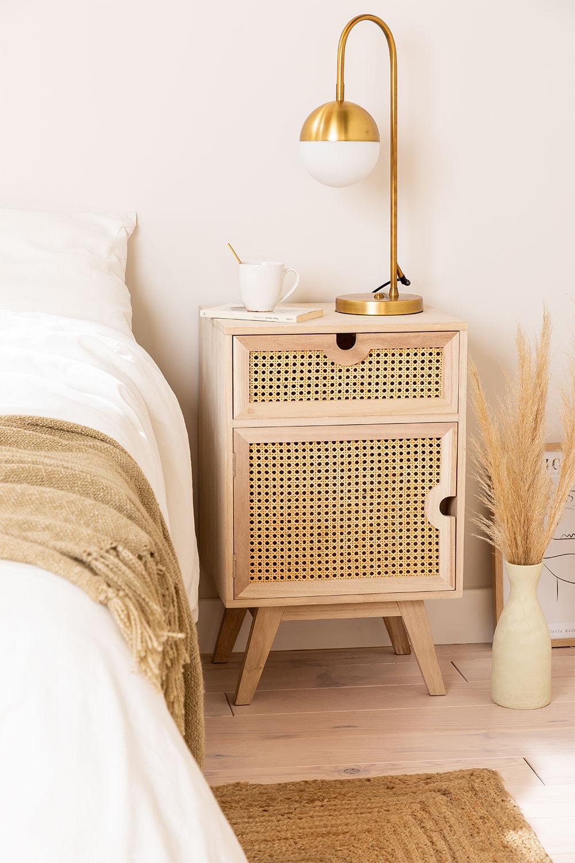 Table de chevet avec rangement en bois Style Ralik, image de la galerie 1
