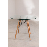 Table à manger ronde en verre et hêtre (Ø90 cm) Scand Edition, image miniature 3