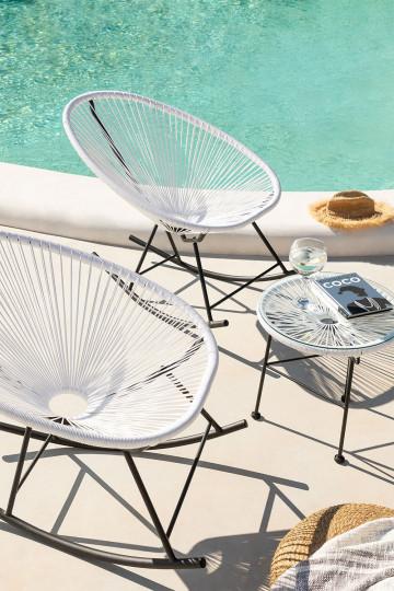 Set 2 chaises berçantes Acapulco et table Acapulco