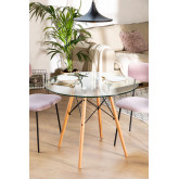 Table à manger ronde en verre et hêtre (Ø90 cm) Scand Edition, image miniature 1