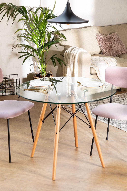 Table à manger ronde en verre et hêtre (Ø90 cm) Scand Edition, image de la galerie 1