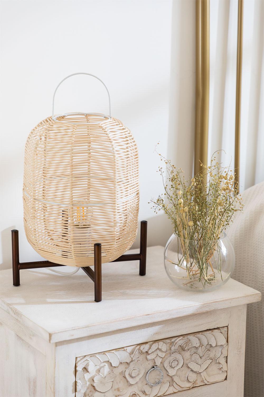 Lampe de table Damien en osier , image de la galerie 1