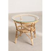 Table d'appoint ronde en rotin et verre (Ø50 cm) Maast, image miniature 4