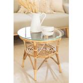 Table d'appoint ronde en rotin et verre (Ø50 cm) Maast, image miniature 1