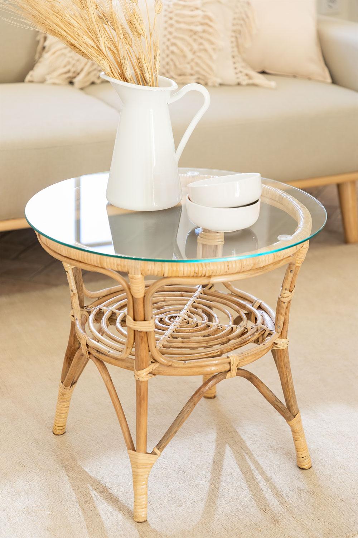Table d'appoint ronde en rotin et verre (Ø50 cm) Maast, image de la galerie 1