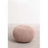 Pouf ronde tricotée grise, image miniature 2