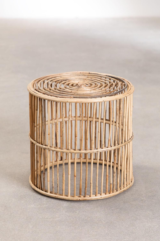 Table d'appoint ronde en bambou Qamish, image de la galerie 1