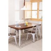 Table à manger rectangulaire en bois (145x90 cm) Nuats, image miniature 1