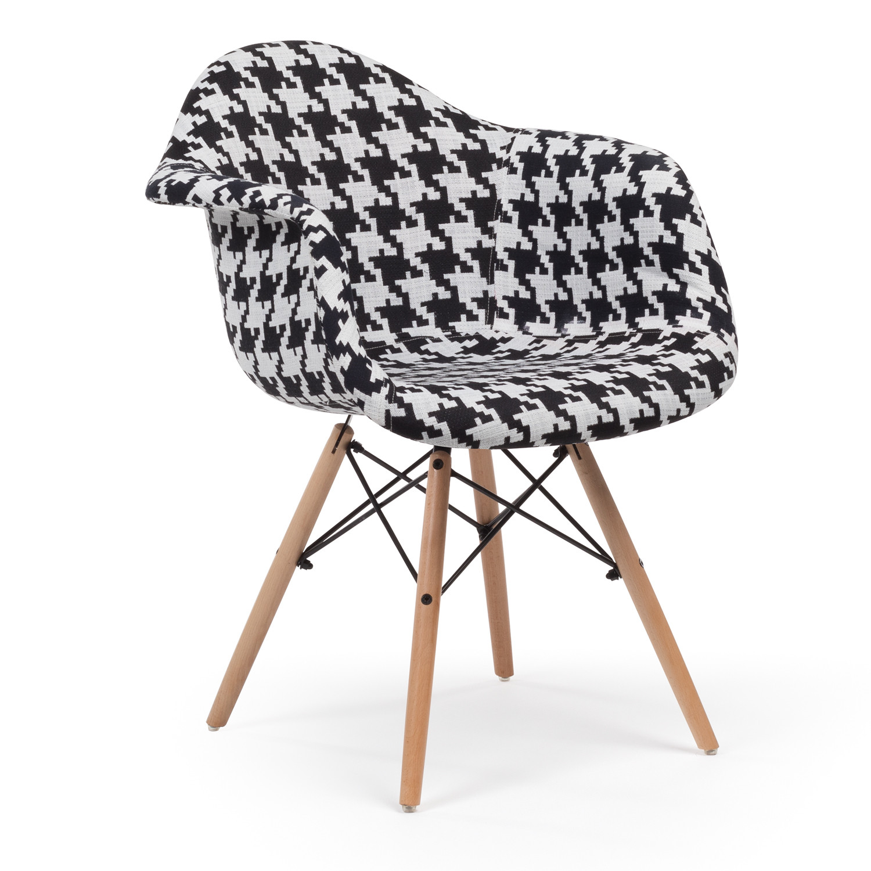 chaise avec accoudoirs ims motif pied de coq sklum. Black Bedroom Furniture Sets. Home Design Ideas