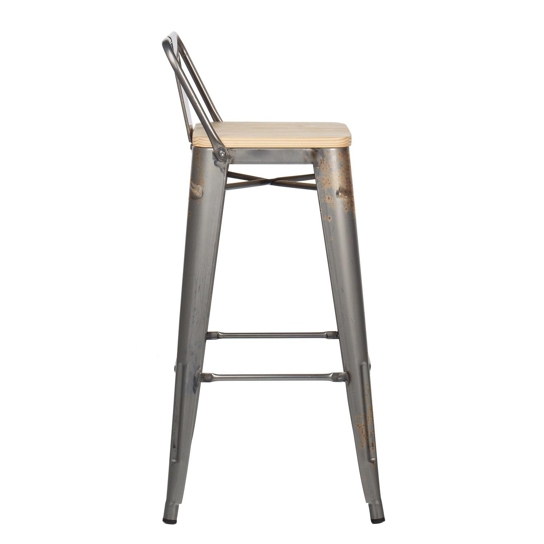tabouret haut avec dossier lix bross bois sklum france. Black Bedroom Furniture Sets. Home Design Ideas