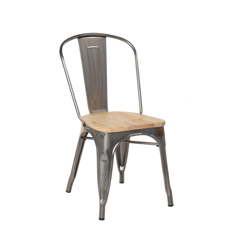Chaise Bois Et Metal Industriel chaise lix brossée en bois