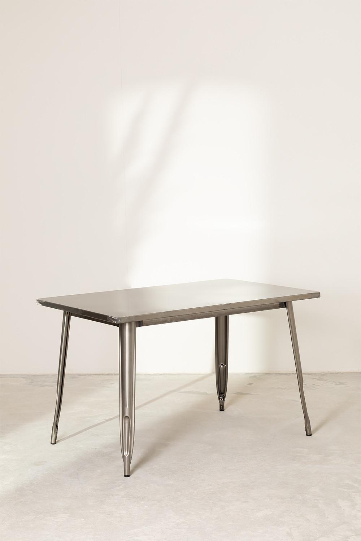 Table de Salle à Manger  en Acier LIX Brossée (120x80 cm), image de la galerie 1