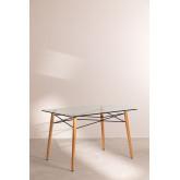 Mesa Rectangular de Comedor en Cristal y Haya (120x80 cm) Scand