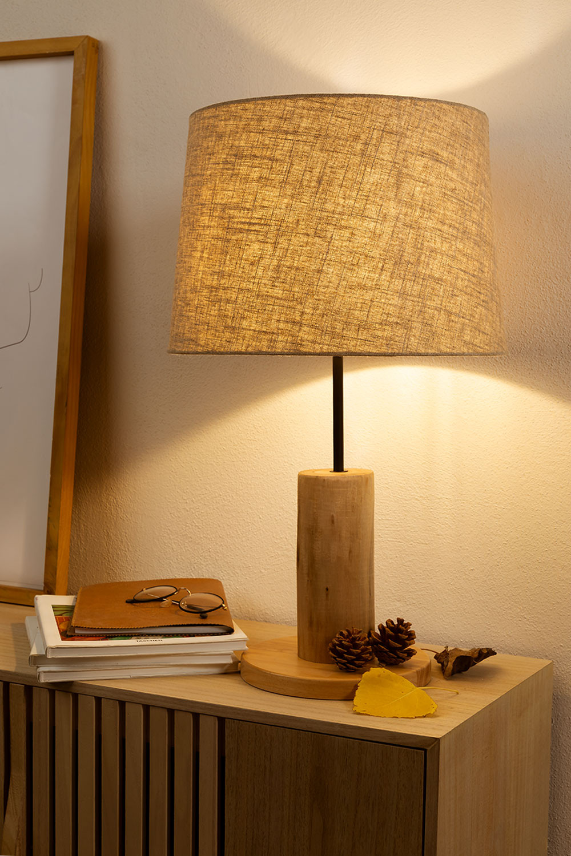 Lampe de table en lin et bois Ulga, image de la galerie 1