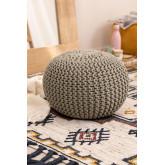 Pouf ronde tricotée grise, image miniature 1